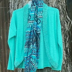 2 pc Girls Cover with Scarf Large Turquoise